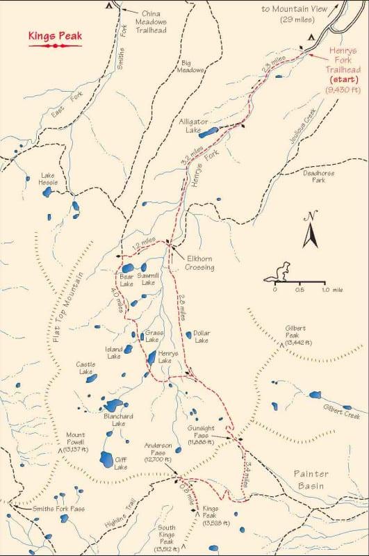 Kings Peak Trail Map
