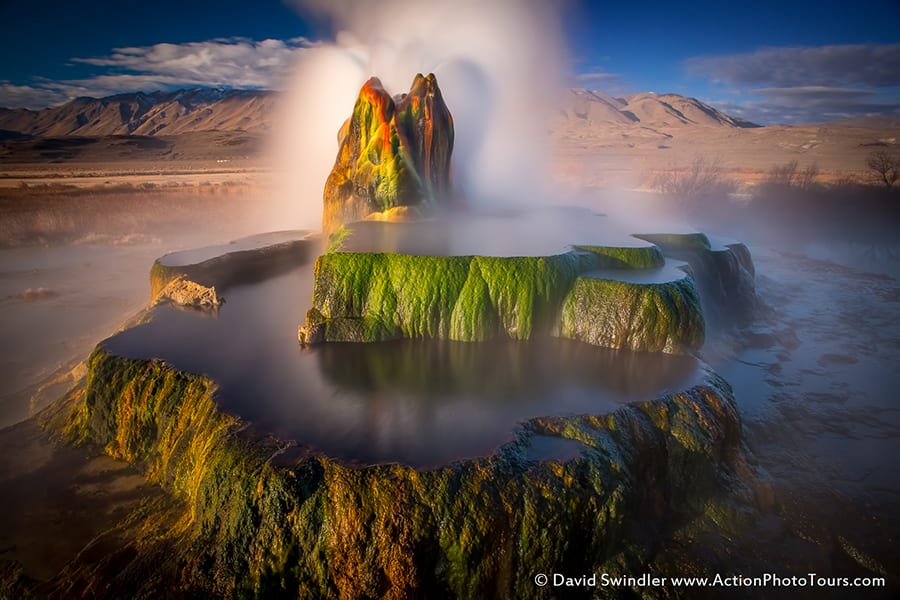 Fly Geyser Aerial View Long Exposures