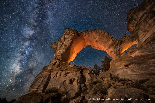 Inchworm Arch is a seldom visited spot in the Grand Staircase near my home in Kanab. Ever since I first saw this arch, I wanted to do a Milky Way shot here. Unfortunately, I had to wait 9 months until the Milky Way was in the right position. It wasn't easy getting the lights optimized and setup, but once I saw the final result, I knew it was well worth it!  I must have been attracting a lot of bugs, because this bat kept flying within inches of my face. The wind from its wings would sure startle me.  I love teaching night photography and if it's something you're interested in, just visit my website.