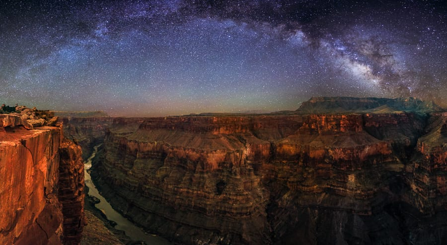 """Panoramic stitch of several vertical shots over the Grand Canyon at Toroweap. I combined two separate exposures for this- one for the sky and a much longer one to bring out detail in the canyon.  I'm going to be in China for the next 3 weeks, so I won't be able to post to 500px. I have a bunch of photos ready to share on Facebook, Twitter, and Google Plus. Feel free to follow me there! <a href=""""https://www.facebook.com/ActionPhotoTours?ref=hl"""">www.facebook.com/ActionPhotoTours?ref=hl</a> <a href=""""https://twitter.com/ActionPhotoTour"""">twitter.com/ActionPhotoTour</a> <a href=""""https://plus.google.com/+Actionphototours1/posts"""">plus.google.com/+Actionphototours1/posts</a>"""