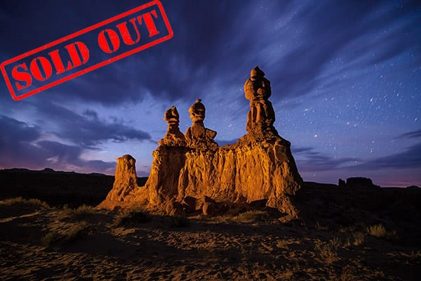 We didn't know if we were going to get Milky Way this evening, as the skies were totally clouded in.  Regardless, we went out to one of our favorite hoodoos to take some blue hour shots. With the fast moving clouds, a long exposure seemed the best choice. It wasn't long before all the clouds were gone and we had beautiful clear skies.