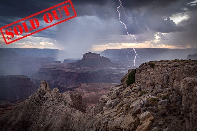 This last week of nothing but blue skies really has me missing our summer storms. Here's a shot from the Grand Canyon.  It wasn't long after I took this shot that the rain started falling in earnest.  If you haven't yet read my tips on photographing lightning, check them out here:  https://actionphototours.com/photographing-lightning/