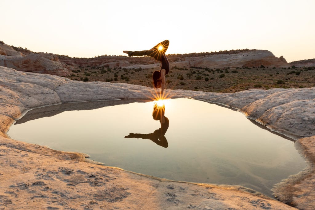 Mike Lawie Handstand at White Pocket with Sunburst