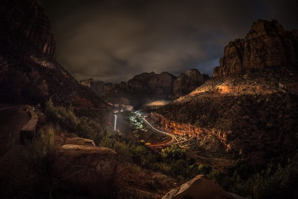 Zion Car Headlight Trail Night Fred Weiner