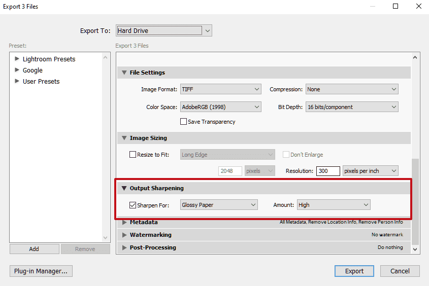 Lightroom Output Sharpening Dialog for High Quality Print
