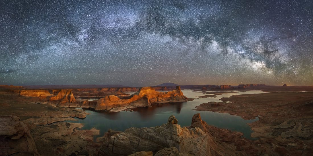 Alstrom Point Overnight Photo Tour Lake Powell Milky Way Pano