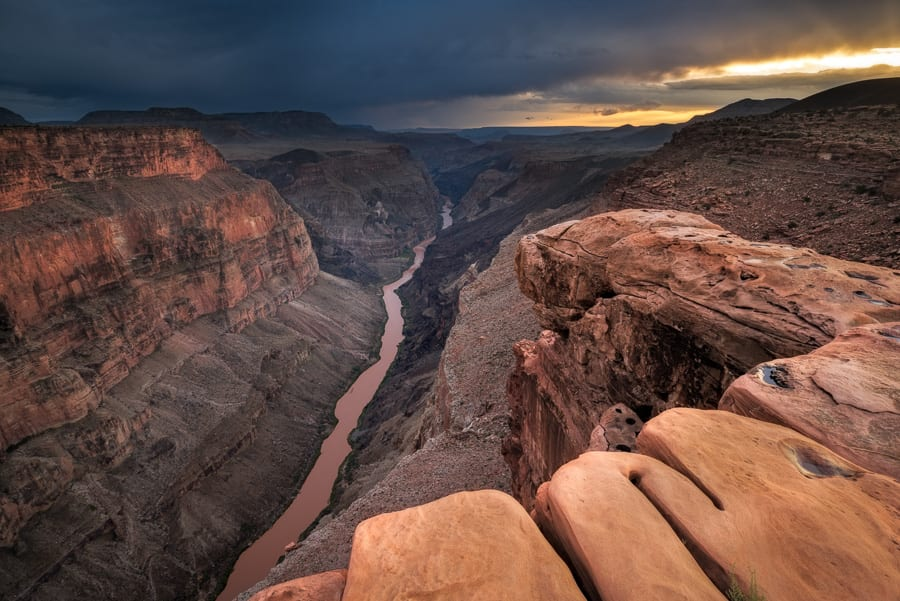 I really liked this foreground rock overlooking the Grand Canyon. A little cloud drama certainly helped!