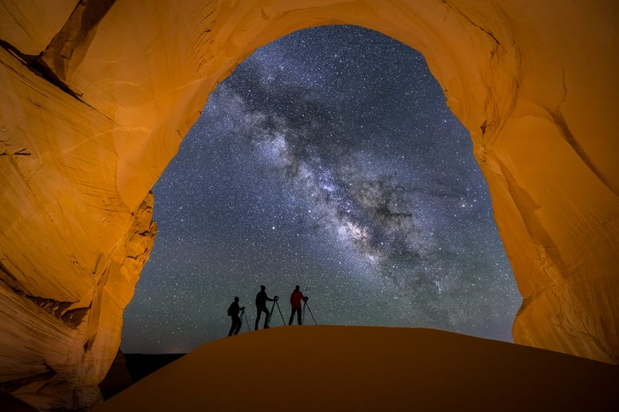 This has always been one of my favorite places to shoot Milky Way. I thought it would be fun to get 3 photographers lined up on the sand dune, so we hauled a bunch of extra tripods up here and got in position.  Low level lighting was used to illuminate the chamber. 6 shots were stacked for noise reduction in the sky and the foreground was shot at ISO 800 for 160sec to get rid of the high ISO blur.  The end result is a very clean and detailed image.  We offer on-demand Milky Way workshops during the new moon periods each month.  Visit our website at www.ActionPhotoTours.com to learn more.