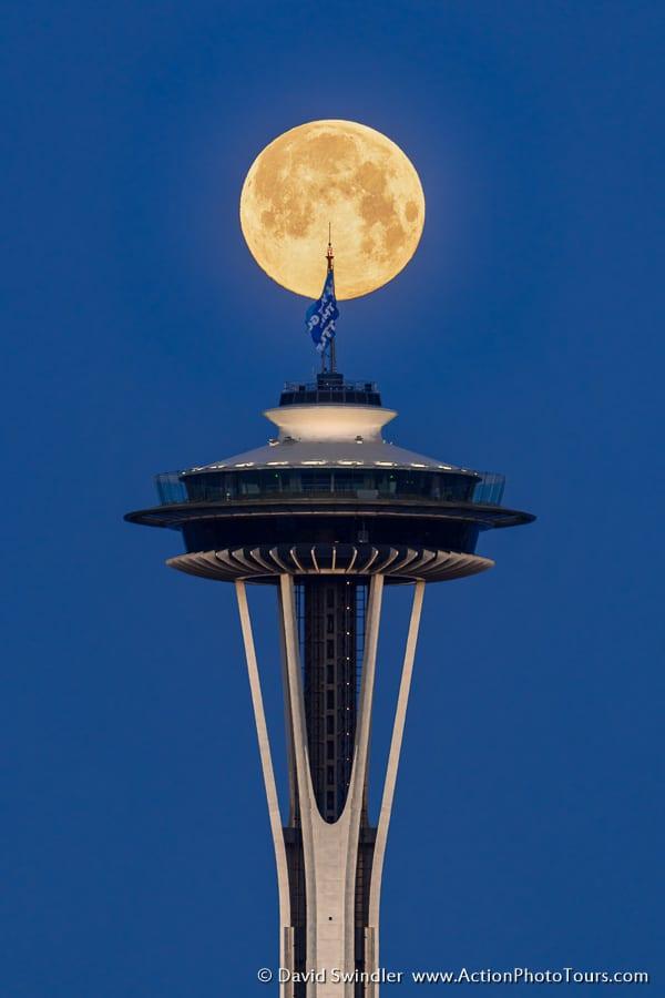 Seattle Space Needle Full Moon