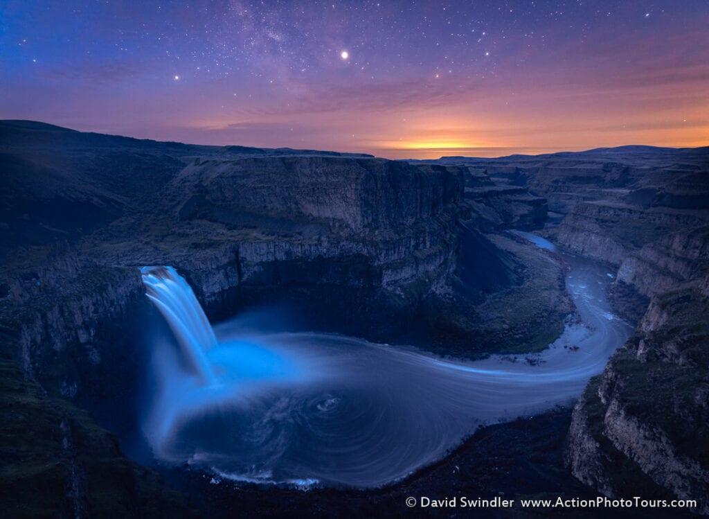 Blue hour landscape photography Palouse Falls