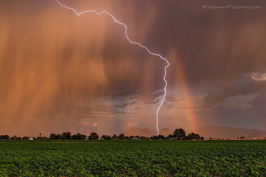 Virga and lightning bolts