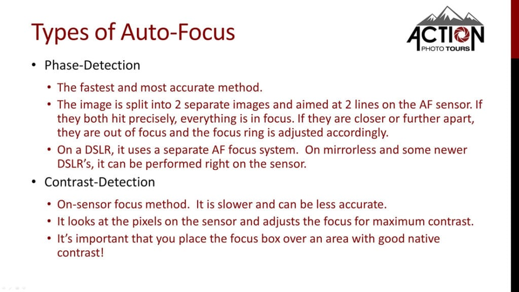 Types of Auto-Focus Phase-Detection vs Contrast Detection