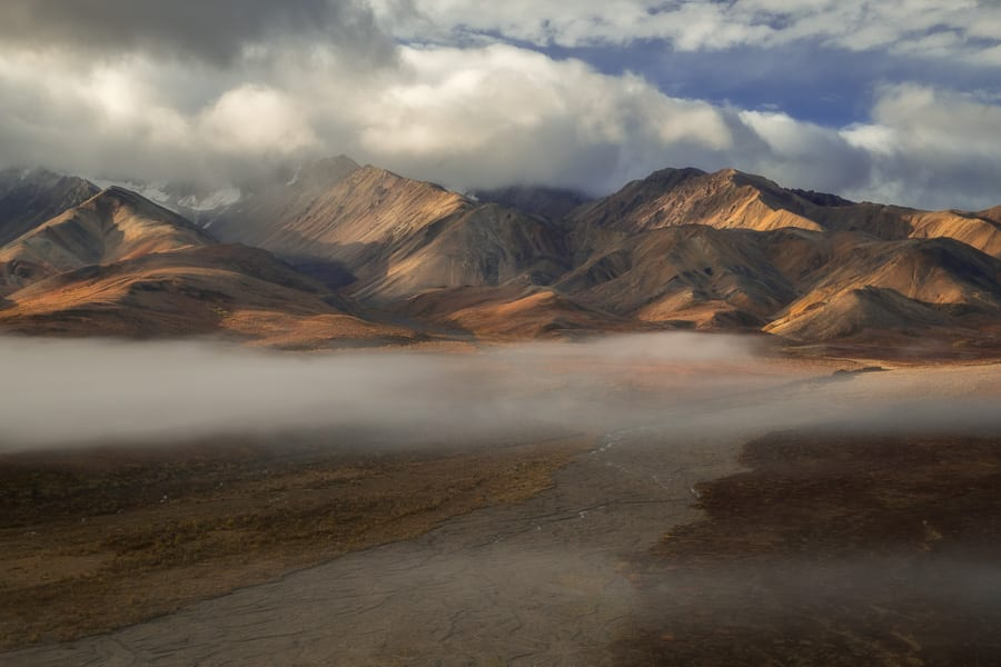 fog over polychrome pass Alaska fall photo workshop