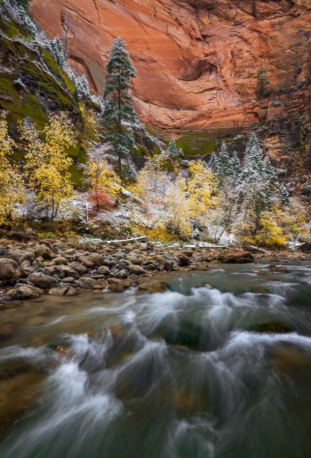 Zion Narrows Winter Southern Utah Fall Colors