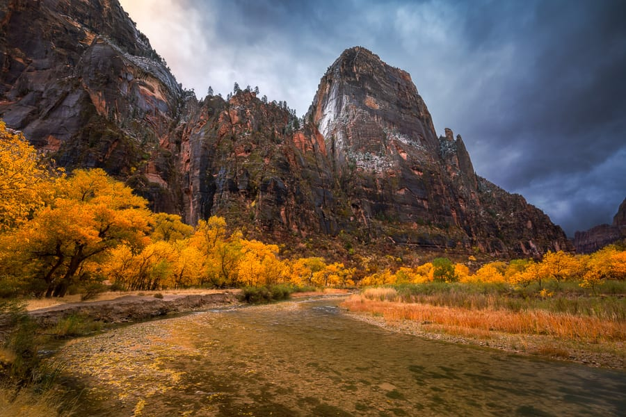 Zion Fall Colors Great White Throne Southern Utah Fall Colors